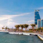 A photo depicting the oceanfront skyline of Jeddah, Saudi Arabia.
