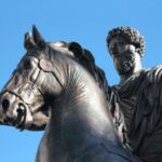 A photo of a statue depicting Roman Emperor Marcus Aurelius that stands in Rome, Italy.