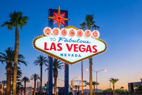 """A photo showing the famous """"Welcome to Fabulous Las Vegas, Nevada,"""" sign."""