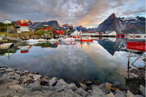 A photo of the fishing village of Reine on the coast of Norway.