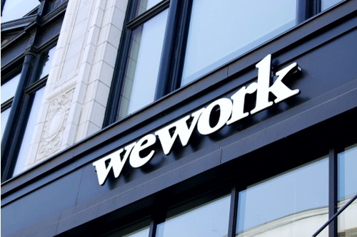 A photo showing the exterior sign on a WeWork location in Detroit, Michigan.