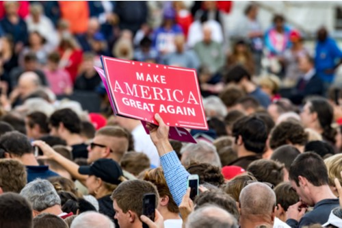 "A photo showing the crowd at a Donald Trump rally with a person displaying a ""Make America Great Again"" sign."