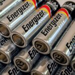 A photo showing rows of AA Energizer batteries stacked on top of one another.