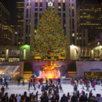 Ice skaters fill the rink at Rockefeller Center in New York City