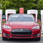 A photo of a Tesla Model S parking at a Tesla charging station in Pickering, Canada.