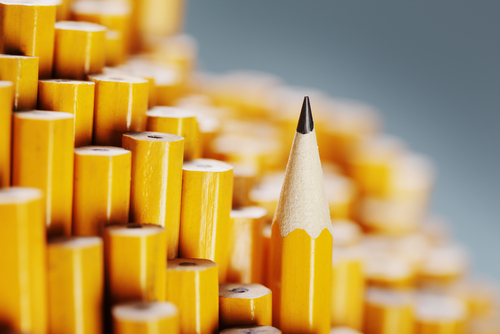 A photo showing a single sharpened pencil standing out amongst a collection of unsharpened ones.