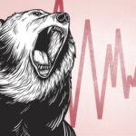 An illustration of a roaring bear in front of a red declining chart background.