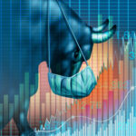 A graphic showing a bull wearing a medical mask overlaid with positive stock charts.