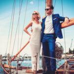 rich couple on a yacht