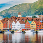 A photo of historical buildings along the water in Bergen, Norway