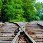 A railroad track splits into two