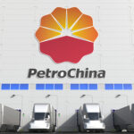 Trucks parked outside of a PetroChina warehouse