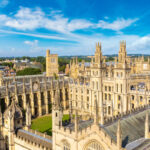 An aerial view of All Souls College at Oxford University