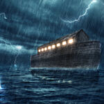 An image of an ark on the sea during a lightning storm.