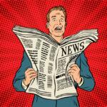 A cartoon man reads a newspaper full of bad news