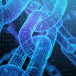 A digital chain represents the blockchain
