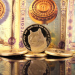 A physical representation of a gold Dogecoin in front of Bitcoin banknotes.