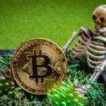 A photo showing a gold Bitcoin in a small grave with a plastic skeleton.
