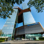 An exterior photo of Tencent's headquarters in Shenzhen, China.